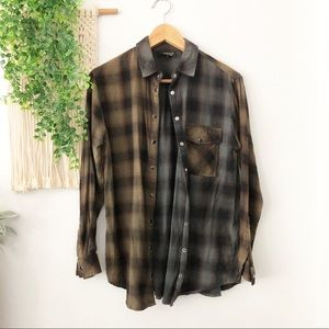 TOPSHOP Gray Black Plaid Button Up Flannel Top